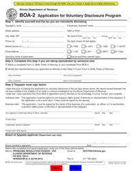 "Form BOA-2 ""Application for Voluntary Disclosure Program"" - Illinois"