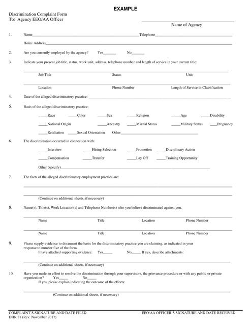 Form DHR-21  Printable Pdf