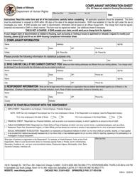 "Form CIS-U ""Complainant Information Sheet"" - Illinois"