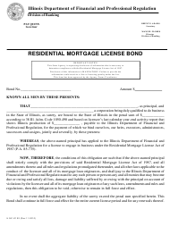 "Form IL581-0102 ""Residential Mortgage License Bond"" - Illinois"