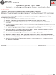 "Form CG ""Application for a Designated Caregiver Registry Identification Card Attestation"" - Illinois"