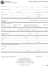"Form IOCI15-529 ""Report of Blood Lead Test Result"" - Illinois"