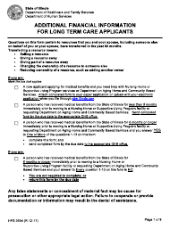 "Form HFS3654 ""Additional Financial Information for Long Term Care Applicants"" - Illinois"