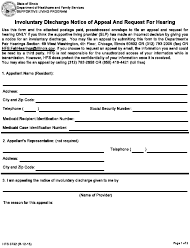 "Form HFS3732 ""Involuntary Discharge Notice of Appeal and Request for Hearing"" - Illinois"