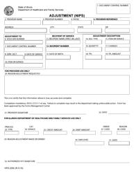 """Form HFS2292 """"Adjustment (Nips)"""" - Illinois"""