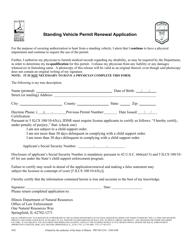"""Standing Vehicle Permit Renewal Application"" - Illinois"