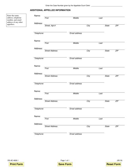 Form DS-AE4606.1  Printable Pdf