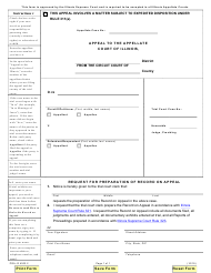 """Form PRA-R4303.2 """"Request for Preparation of Record on Appeal"""" - Illinois"""