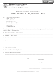 "Form CC86 ""Notice of Intent of Claim for Personal Injury"" - Illinois"