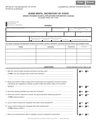 "Form DSD CDTS38 ""Driver Training School Application for Branch License"" - Illinois"