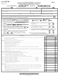 "Form FIT-20 (State Form 44623) ""Indiana Financial Institution Tax Return"" - Indiana, 2019"