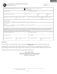 """Form CG-SP (State Form 53641) """"Special Permission Request"""" - Indiana"""