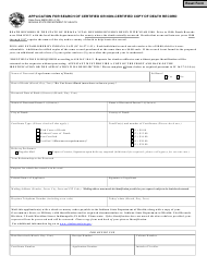 """State Form 49606 """"Application for Search of Certified or Non-certified Copy of Death Record"""" - Indiana"""
