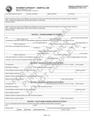 "State Form 44780 ""Paternity Affidavit - Hospital Use"" - Indiana"