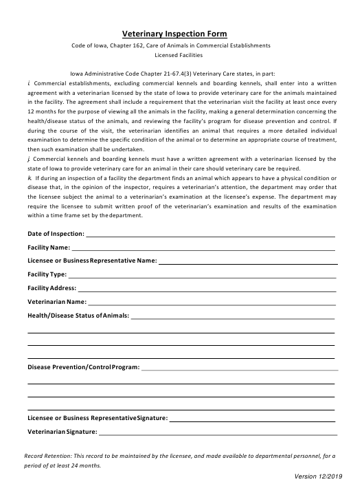 """Veterinary Inspection Form"" - Iowa Download Pdf"