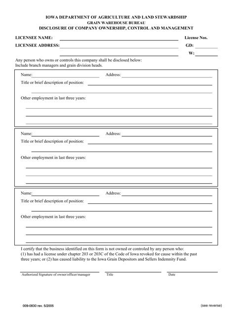 Form 009-0830  Printable Pdf