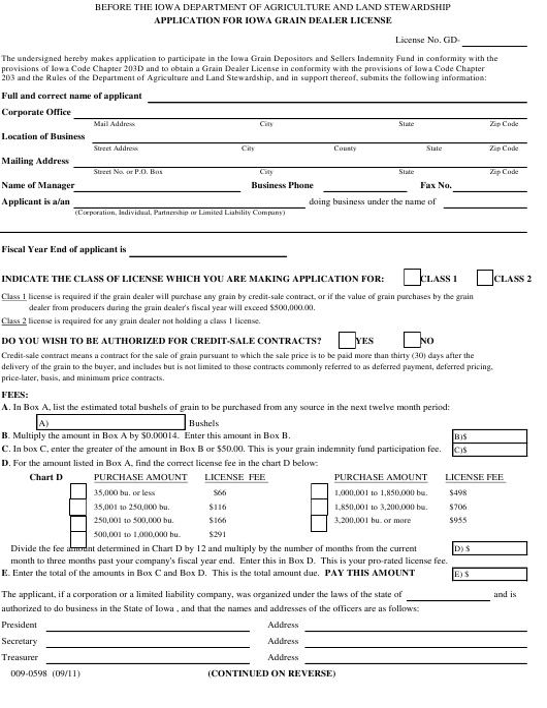 Form 009-0598  Printable Pdf