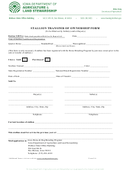 "Form S-6 ""Stallion Transfer of Ownership Form"" - Iowa"