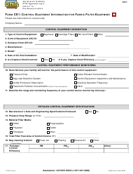"Form CE1 (DNR Form 542-0939) ""Control Equipment Information for Fabric Filter Equipment"" - Iowa"