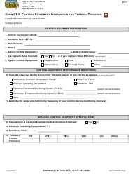 """Form CE4 (DNR Form 542-0942) """"Control Equipment Information for Thermal Oxidation"""" - Iowa"""