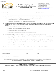 """Form MP-28A """"Meat & Poultry Inspection Application for Custom and Retail Operation Exemption"""" - Kansas"""