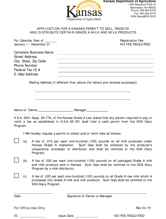 """""""Application for a Kansas Permit to Sell, Receive and Distribute Certain Grade a Milk and Milk Products"""" - Kansas Download Pdf"""