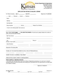 """""""Application for Milk Hauler License"""" - Kansas"""