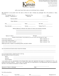 """Application for a Milk Distributor License"" - Kansas"