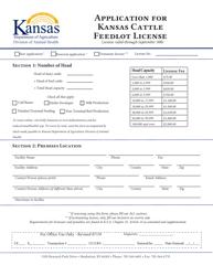"""""""Application for Kansas Cattle Feedlot License"""" - Kansas"""