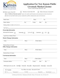 """Application for New Kansas Public Livestock Market License"" - Kansas"