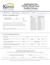 """""""Application for Kansas Sheep/Goat Feedlot License"""" - Kansas"""