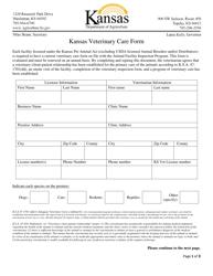 """""""Kansas Veterinary Care Form"""" - Kansas"""