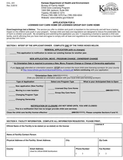 Form CCL.201  Printable Pdf
