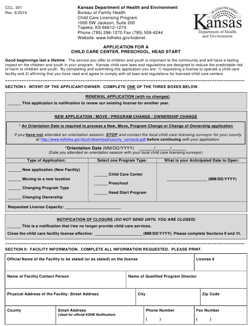 Form CCL.301 Printable Pdf
