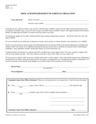 """Form KDOC-0014 """"Kdoc Acknowledgement of Parental Obligation"""" - Kansas"""