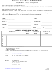 """Hay Hotline Forage Listing Form"" - Kentucky"