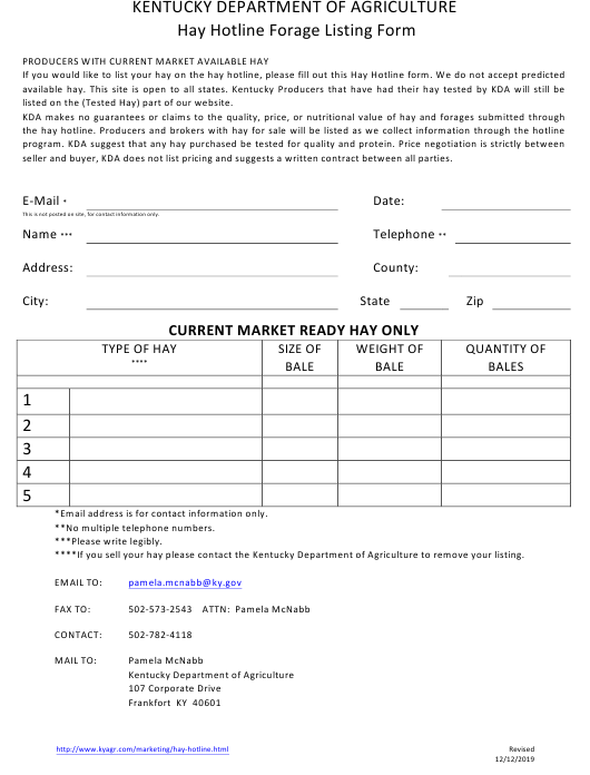 """Hay Hotline Forage Listing Form"" - Kentucky Download Pdf"