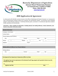"""""""Kentucky Proud Promotional Program Application & Agreement"""" - Kentucky, 2020"""