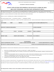 "Form TC94-29 ""Legacy Application for Renewal or Duplicate License by Mail (Military Personnel and Military Dependents Only)"" - Kentucky"