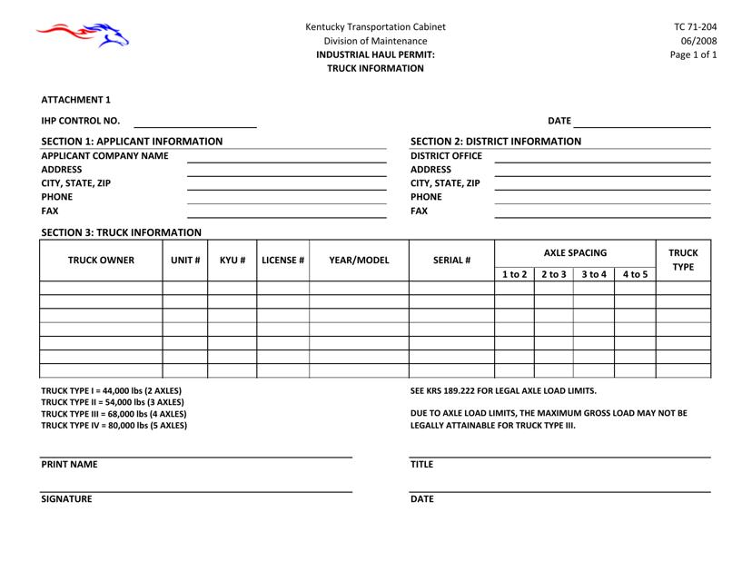 Form TC71-204 Attachment 1  Printable Pdf