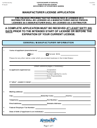 "Form CG-3 ""Manufacturer License Application"" - Kentucky"