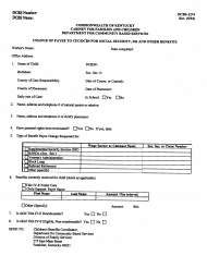 "Form DCBS-1274 ""Change of Payee to Cfc/Dcbs for Social Security, Ssi and Other Benefits"" - Kentucky"