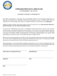 """Nondisclosure Form for Embargoed Data"" - Kentucky"
