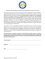 """Kentucky State-Required Assessments Nondisclosure Agreement Form"" - Kentucky"
