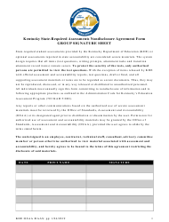 """Kentucky State-Required Assessments Nondisclosure Agreement Form Group Signature Sheet"" - Kentucky"