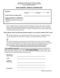 "Form 45 ""Basic Training - Medical Confirmation"" - Kentucky"