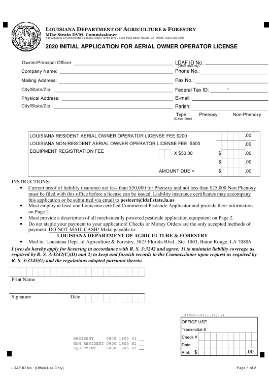 """Initial Application for Aerial Owner Operator License"" - Louisiana Download Pdf"
