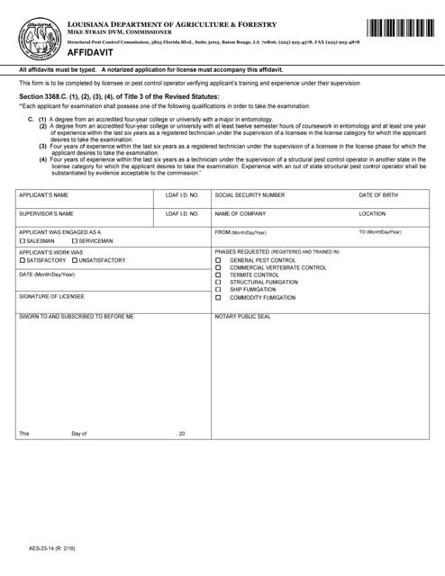 Form AES-23-14  Printable Pdf