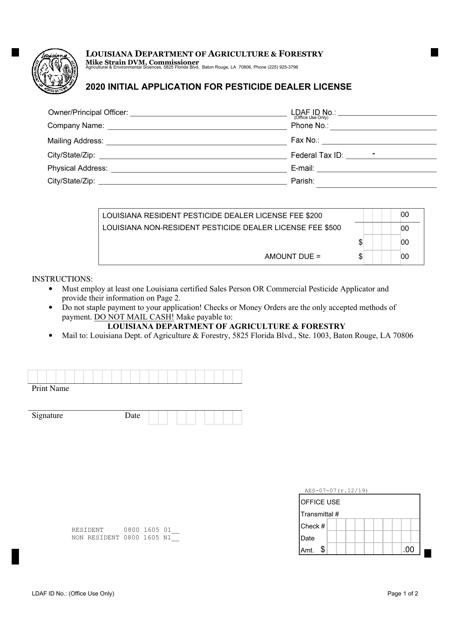 """Initial Application for Pesticide Dealer License"" - Louisiana Download Pdf"