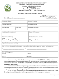 "Form RAD-41 ""Reciprocity Notification Form"" - Louisiana"